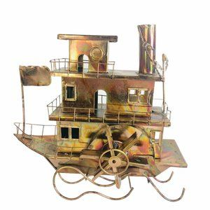 Wind Up Copper Metal Art Steamboat Paddle Steamer